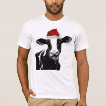 Santa Cow - Dairy Cow wearing Santa Hat T-Shirt