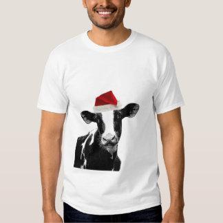 Santa Cow - Dairy Cow wearing Santa Hat Tee Shirt