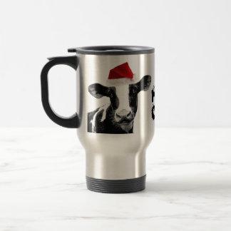 Santa Cow - Dairy Cow wearing Santa Hat Travel Mug