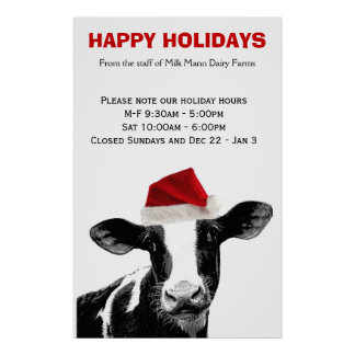 Santa Cow Happy Holidays Dairy Farm Store Hours Poster
