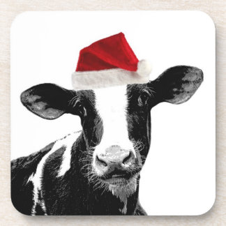 Santa Cow -Holstein Dairy Christmas Cow Coasters