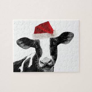 Santa Cow -Holstein Dairy Christmas Cow Puzzle