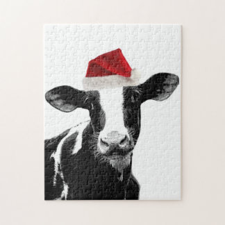 Santa Cow -Holstein Dairy Christmas Cow Jigsaw Puzzles