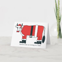 Santa Cow is Coming to Town Holiday Card