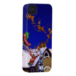 Santa crashing on a rooftop iPhone 4 Case-Mate case