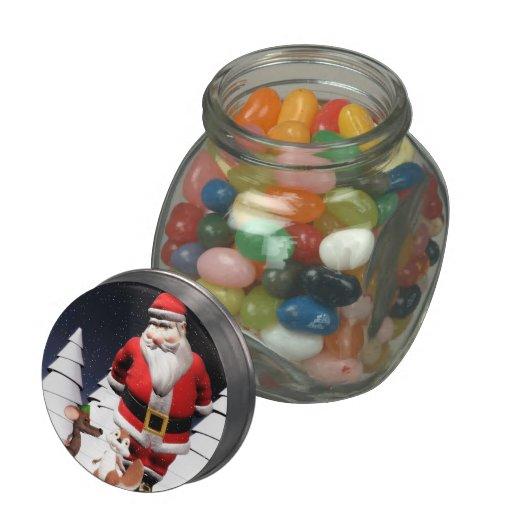 Santa & critters Christmas jellybean jars and tins Glass Jar