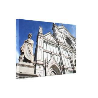 Santa Croce Basilica with the Dante Statue outside Canvas Print