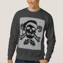 Santa Crossbones Skull in Ugly Sweater Style