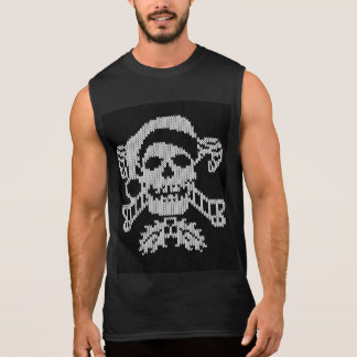 Santa Crossbones Skull in Ugly Sweater Style Sleeveless Tees