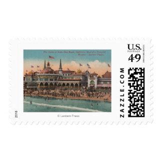 Santa Cruz, CA - Casino and Santa Cruz Beach Postage Stamp