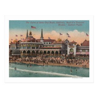 Santa Cruz, CA - Casino and Santa Cruz Beach Postcard