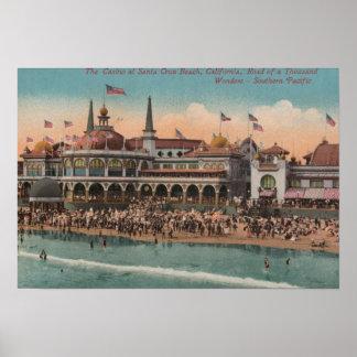 Santa Cruz, CA - Casino and Santa Cruz Beach Poster