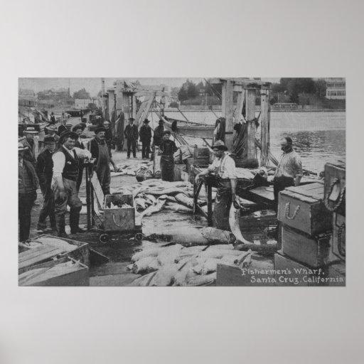 Santa Cruz, CA - escena del muelle del pescador Impresiones