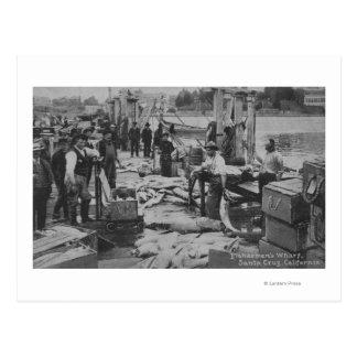 Santa Cruz, CA - Fisherman's Wharf Scene Postcard