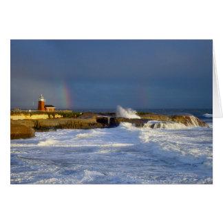 Santa Cruz, CA Lighthouse/Rainbow Greeting Card