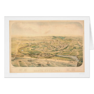 Santa Cruz, CA. Panoramic Map (1586A) - Unrestored Card