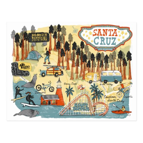 Santa Cruz California Illustrated Map Postcard