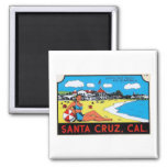 Santa Cruz, California Luggage Label Vintage 2 Inch Square Magnet