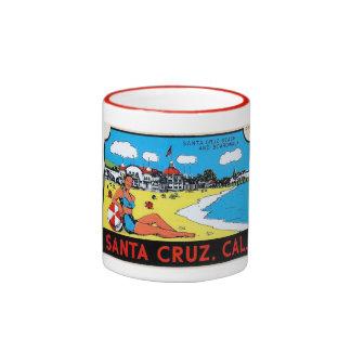Santa Cruz California Luggage Label Vintage Coffee Mug