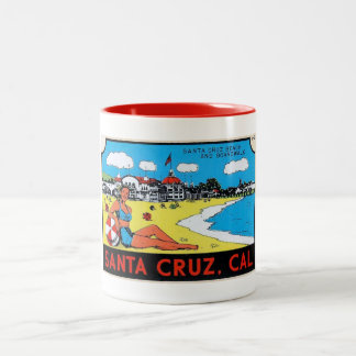 Santa Cruz, California Luggage Label Vintage Two-Tone Coffee Mug