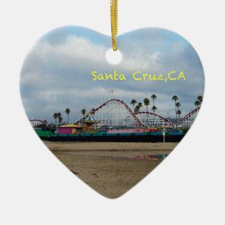 Santa Cruz California Double-Sided Heart Ceramic Christmas Ornament
