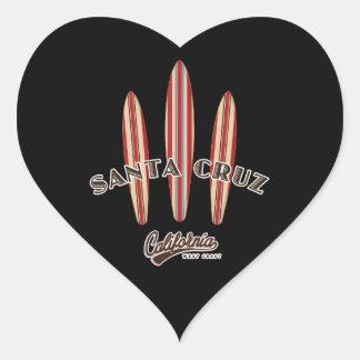 Santa Cruz California Three Surfboards Heart Sticker