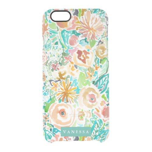 SANTA CRUZ FLORAL Colorful Watercolor CUSTOMIZABLE Clear iPhone 66S Case