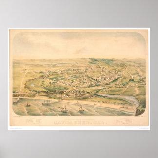 Santa Cruz mapa panorámico del CA 1586A - resta Poster