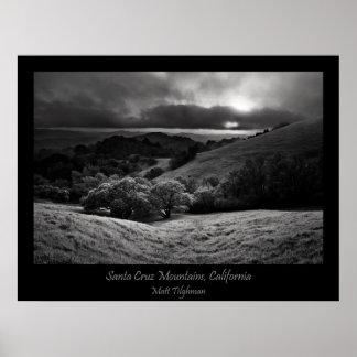Santa Cruz Mountains in Black and White Poster