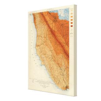 Santa Cruz quadrangle showing intensity, faults Canvas Print