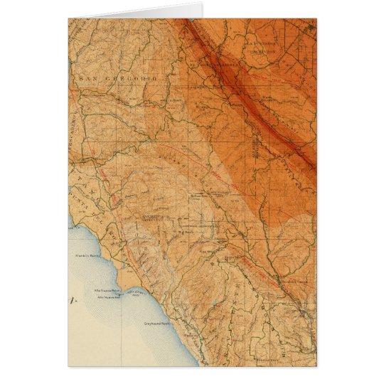 Santa Cruz quadrangle showing intensity, faults Card