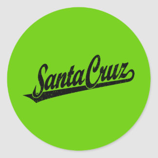 Santa Cruz script logo in black distressed Classic Round Sticker