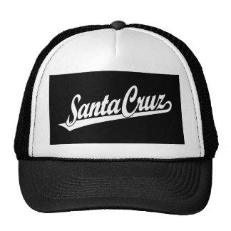 Santa Cruz script logo in white Mesh Hat