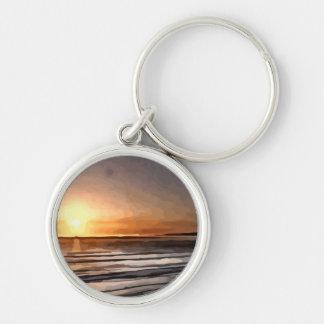 Santa Cruz Sunset painting Keychain