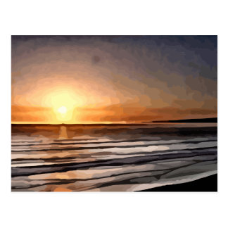 Santa Cruz Sunset painting Postcard
