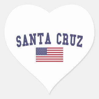 Santa Cruz US Flag Heart Sticker