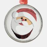 Santa cupcake ornament