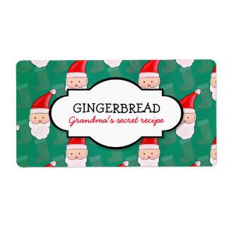 Santa Cute Christmas Pattern Green Recipe Label