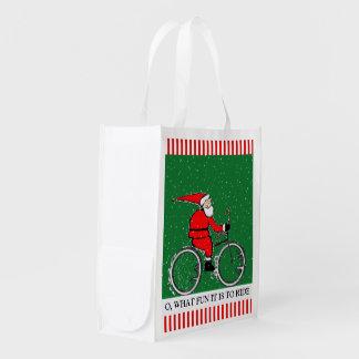 Santa Cyclist Reusable Grocery Bag