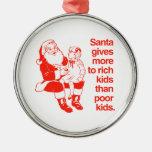 Santa da más a los niños ricos adorno redondo plateado