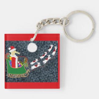 Santa Dachshund Double-Sided Square Acrylic Keychain