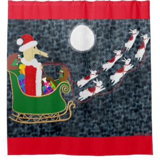 Santa Dachshund Shower Curtain