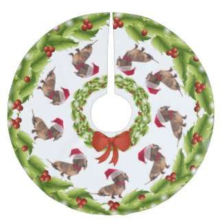Santa Dachshund Tree Skirt