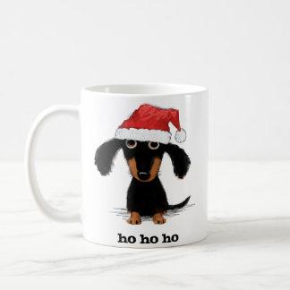 Santa Dachshund with Customizable Text Classic White Coffee Mug