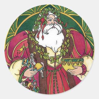 Santa de antaño pegatina redonda