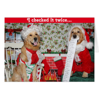 Santa de oro comprueba la lista del navidad con tarjeta de felicitación