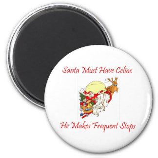 Santa debe tener celiaco - él hace paradas frecuen imanes para frigoríficos
