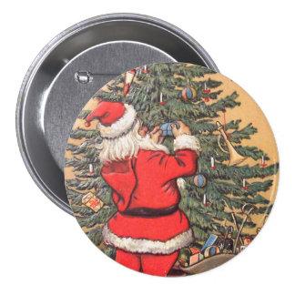 Santa Decorating Christmas Tree Pinback Button