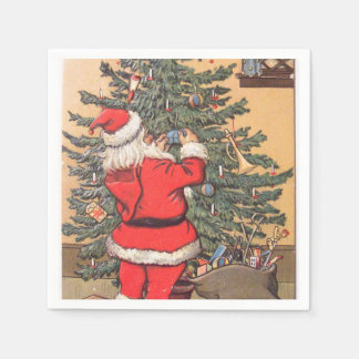 Santa Decorating Christmas Tree Paper Napkin