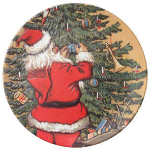 santa decorating christmas tree plate